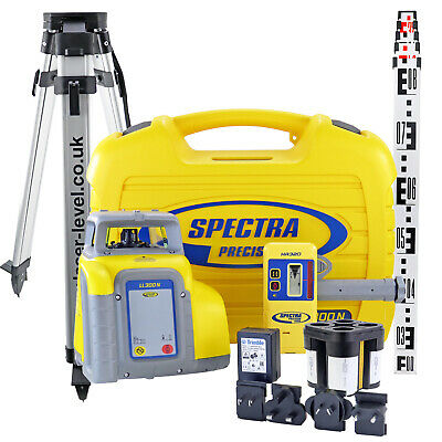 Tough Rotary Laser Level Kit: Spectra Precision LL300N + Detector Tripod & Staff