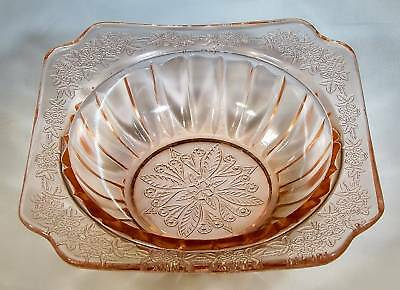 "JEANNETTE GLASS CO. ADAM PINK 4-3/4"" DIAMETER INDIVIDUAL DESSERT or BERRY BOWL!"