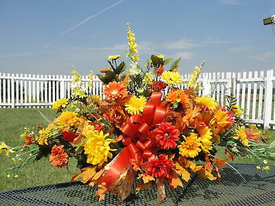 2 sided Harvest Tombstone Saddle Funeral Arrangement Grave Thanksgiving Cemetery
