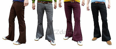 Mens New Bell Bottoms FLARES Cords Pants Trousers Corduroy Hippy 30 32 34 36 38