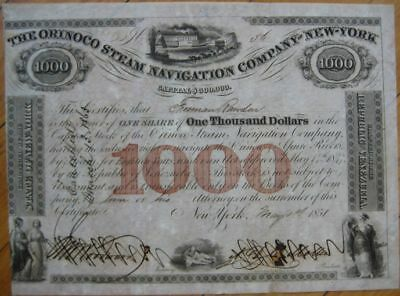 1851 $1000 Bond Certificate: 'Orinoco Steam Navigation Company of New York'