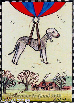 Aceo Bedlington Terrier Dog Print From Original Painting By Suzanne Le Good