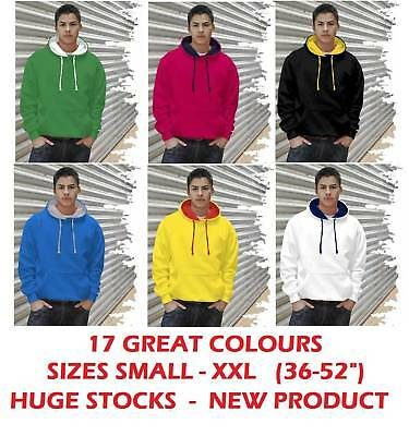 Contrast Hooded Top Hoodie Hoody - 17 Great Colours!