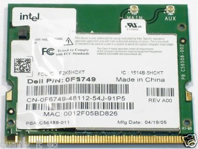 Genuine Dell Laptop Wireless WiFi Card F6749 A/B/G Intel WM3A2915ABG