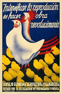 Poultry Reproduction Vintage Style 1930s Spanish Civil War Poster - 16x24