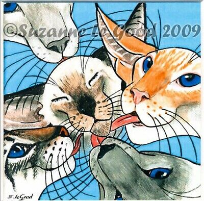 LTD EDITION MOUNTED SIAMESE CAT PAINTING PRINT FROM ORIGINAL by SUZANNE LE GOOD
