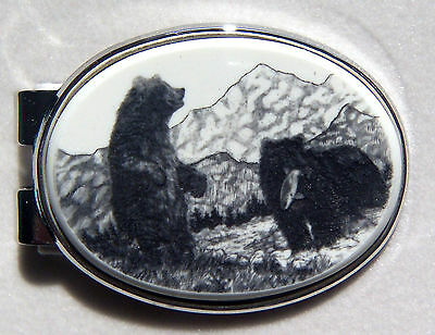 Money Clip Oval Barlow Scrimshaw Carved Painted Art Bears Fishing Silver 539619