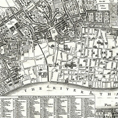 1666 (1772) London fire map, unique 18x12 inch print