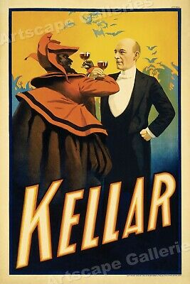 Kellar Drinks with the Devil 1899 - Vintage Style Magic Poster - 24x36