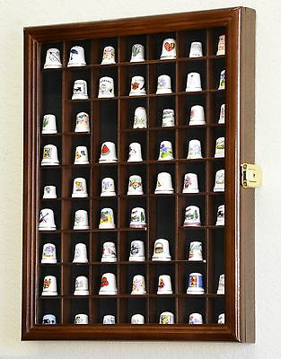 59 Thimble / Small Miniature Display Case Cabinet Holder Wall Rack - Lockable