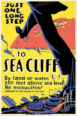 Long Island New York WPA Travel Poster Long Step to Sea Cliff - 16x24