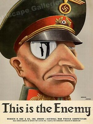 This is the Enemy! Nazi Officer - 1943 World War 2 Poster - 24x32