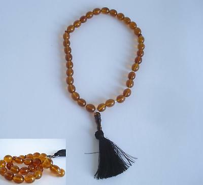 OLD ISLAMIC NATURAL BALTIC AMBER IMAM PRAYER BEADS,34g