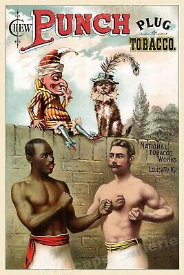 """1880s Vintage Style Boxing Pugilism Poster """"Chew Punch Plug Tobacco"""" - 24x36"""