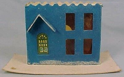 Vintage Blue Italianate Christmas Putz House Train Yard Display Glitter Retro