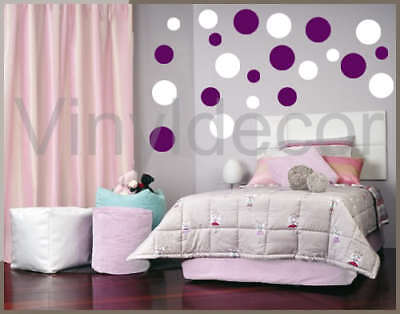 216 POLKA DOTS VINYL WALL ART STICKERS CIRCLES KIDS whv