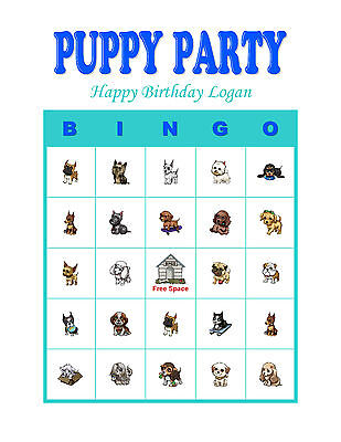 Puppy Birthday Party Game Personalized Bingo Cards