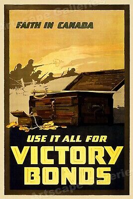 1918 Buy Canadian Victory Bonds!  WW1 War Poster 24x36