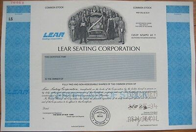SPECIMEN Stock Certificate-Lear Jet Seating Corporation
