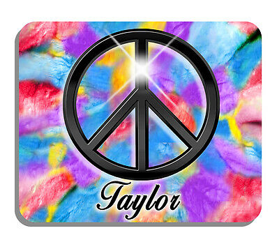 Peace Sign Tie Dye Mouse Pad Personalize Any Name Or Text Blues Purples