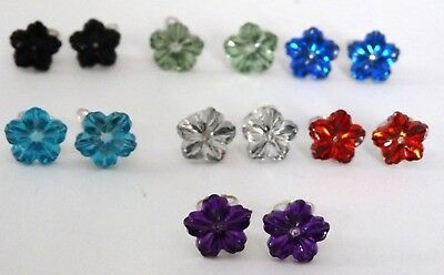 New Crystal Flower Clip On Earrings Ideal For Children - Choice 12 Colours