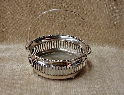 E. G. Webster Heavy Silverplate FOOTED HANDLED BASKET * Quality Piece