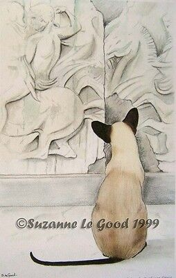 Ltd Ed.  Siamese Cat Parthenon Print From Original Painting By Suzanne Le Good