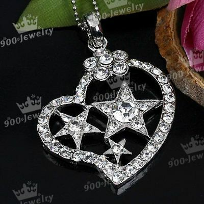 1P SILVER PLATED HEART STAR CLEAR CRYSTAL BEAD PENDANT
