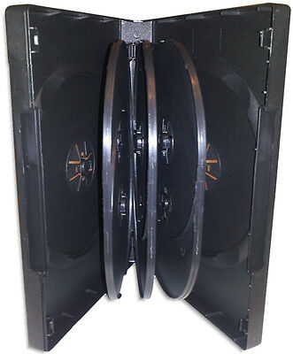 8-DISC 27mm =BLACK= DVD Boxes with Hinged Flaps 4-Pak