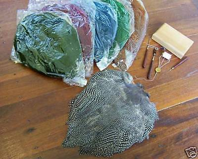 Guinea Fowl Skin -for fly fishing rod,reel & tying vise