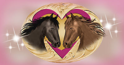 "Horses Hearts Decal Bumper Sticker Personalize With Any Text 6"" Pink"