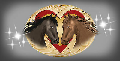 "Horses Hearts Decal Bumper Sticker Personalize With Any Text 6"" Silver"