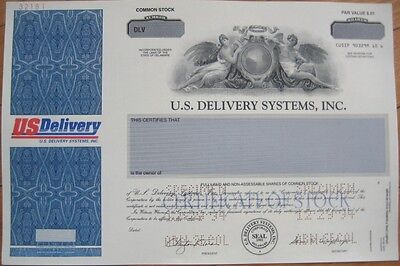 SPECIMEN Stock Certificate: 'US Delivery Systems, Inc.'