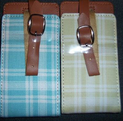 Pretty Plaid Check Travel ID Luggage Bag Identify Tag Holds 2 Business Cards NEW
