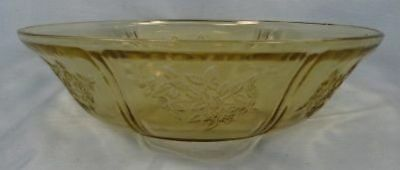 Large SHARON or CABBAGE ROSE AMBER GLASS BERRY BOWL (O)