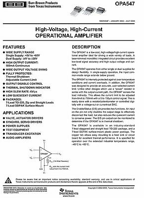 OPA547T High Voltage High Current Op Amp OPA547
