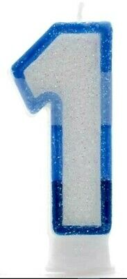 1st BIRTHDAY NUMBER CANDLE - BOY AGE 1 - BLUE - Party cake decoration