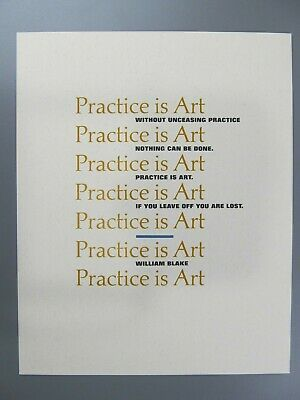 Practice is Art, by William Blake, Adagio Press, 1987
