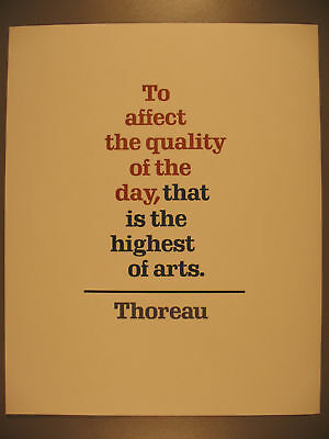 Broadside, Thoreau, To Affect the Quality of the Day