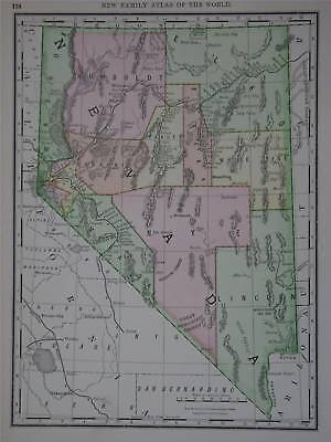 1888 Nevada Original Dated Color  Map* 123 years-old!!