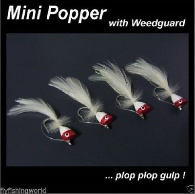 4 Red/White MINI POPPER FLIES for fly fishing rod reel
