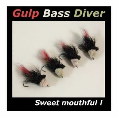 4 Black GULP BASS FLIES for fly fishing rod reel & line