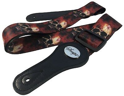 "Seatbelt Style Script®  ""BLOOD RISING""  Electric, Acoustic, Bass Guitar Strap"