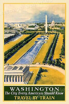 1930s Washington DC Capitol Mall Travel by Train Vintage Style Poster - 20x30