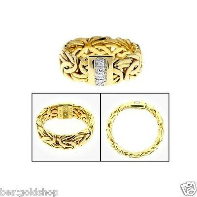Genuine Natural Diamond Accent Byzantine Band Ring Real 14K Yellow Gold QVC