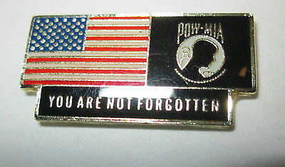 "*POW/MIA-Army-Navy-Marine-Air Force""Flag Logo""retangular""Lapel/Hat Pin,Tie Tack"