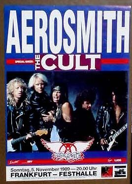 Aerosmith German 1989 concert poster the Cult MINT COND