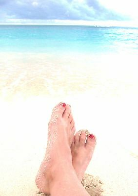 Toes Red Nails Sand Digital Print Beach Paradise Island Cabbage Beach Bahamas
