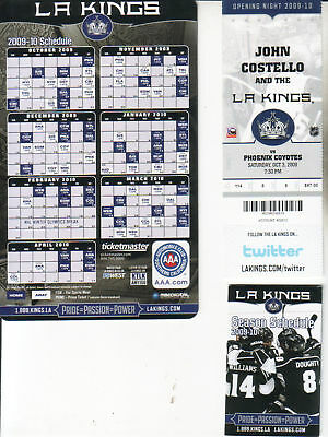 2008-09--LA KINGS-OPENING NIGHTS--LOT--2 FULL TICKETS + 2 SCHEDULES-NMT