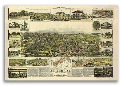 Bird/'s Eye View 1894 Los Angeles California Vintage Style City Map 20x30